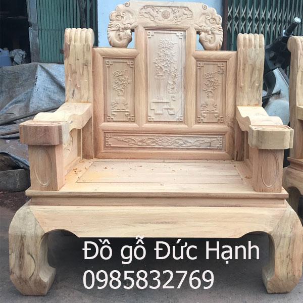 Ghế hộp như ý gỗ gõ chân cong